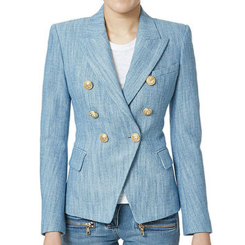 2017 New Fashion Spring Autumn Blazer Button Double Breasted Suit Jacket Golden Metal Lion Suit Blue Office Blazer Women Outwear
