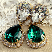 Emerald chandelier earring - 14 k plated gold  earrings real Swarovski green emerald crystals.