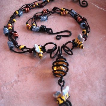 Gothic Bumble Bee Honey Hive Black Wire Garden Necklace