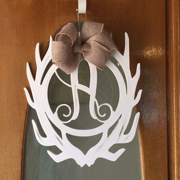 Antler monogram door hanger PAINTED