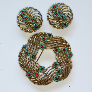 Lisner Swirl Brooch and Earrings Turquoise and Red Beads Vintage