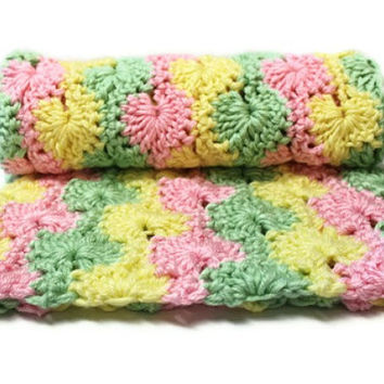 Crochet Baby Blanket in Light Rainbow Girl Colors by makinitmama