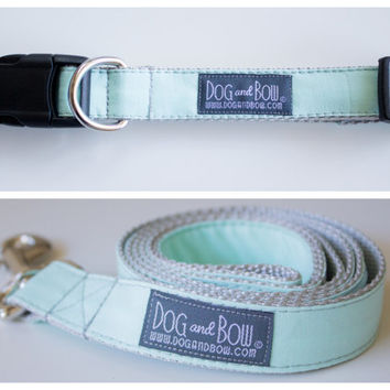 Pale Mint Dog Collar with Optional Leash by Dog and Bow