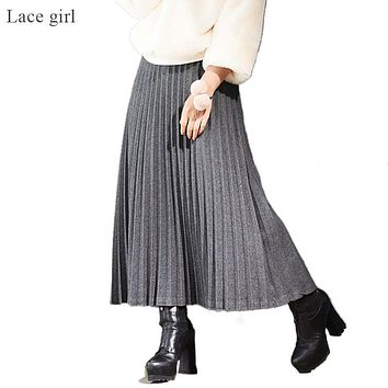 Women's Fashion Accordion Pleated Midi Skirt Female Casual Elastic High Waist Wool Blends Warm Skirts 2017 Autumn Winter SK164