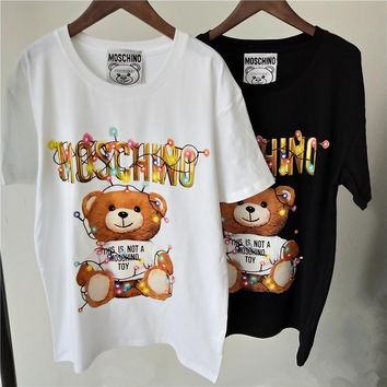 Moschino Women Cute Bear Cotton T-shirt