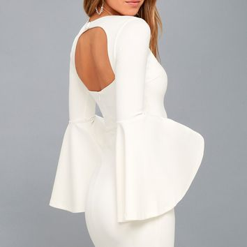 Style Spotlight White Flounce Sleeve Bodycon Dress