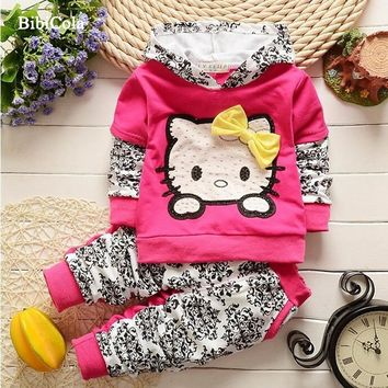 Spring/Autumn Children hoodies clothing set baby Girls Clothes Set infant sport suit set toddler hoodies+Pants animal tracksuits
