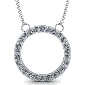 Standard Circle Pendant - Moissanite Circle Necklace - Diamond Circle Necklace .78 ctw