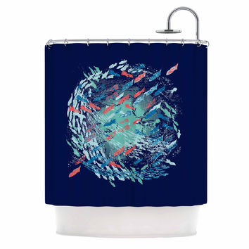 """Frederic Levy-Hadida """"Underwater Life - Blue"""" Blue Fish Shower Curtain"""
