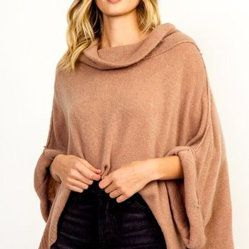 Eskimo Kisses Long Roll Sleeves Roll Neck Poncho Oversized Loose Pullover Sweater - 4 Colors Available