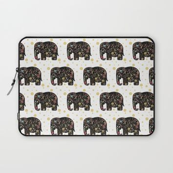 Floral Elephant Laptop Sleeve by Doucette Designs | Society6