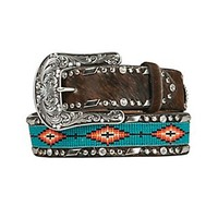 Ariat Women's Brown Cowhide with Turquoise Aztec Beaded Center Western Belt A1515402