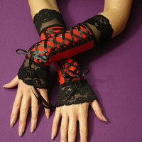 Black and Red Laced Up Armewarmers Gypsy Fingerless by estylissimo