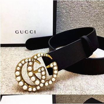 GUCCI pearl Woman Fashion Smooth Buckle Belt Leather Belt black