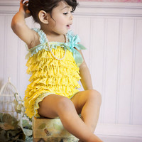 Petti Lace Romper Yellow & Aqua, Baby Girls Birthday Outfit, Photo Props