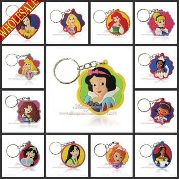 Girls Love 100Pcs/Lot Lovely Princess Doc Mc Stuffins Key Chains Action figure Keyrings travel accessories Kids Toy Key Holder