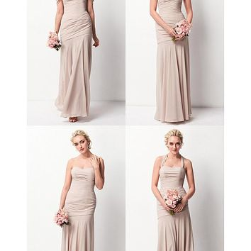 [71.11] Marvelous Chiffon Sweetheart Neckline Convertible Sheath Bridesmaid Dresses - dressilyme.com