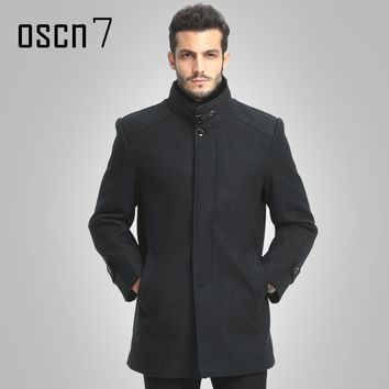 OSCN7 Wool Winter Jacket Men 2017 New Casual Mens Warm Cashmere Coat Plus Size Fashion Men Overcoat Solid Trench Coat 4XL