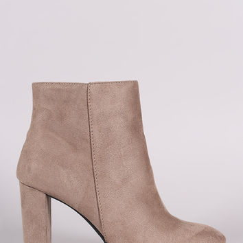 Qupid Suede Side Zip Ankle Boots