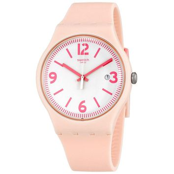 Swatch English Rose White Dial Mens Light Pink Watch SUOP400
