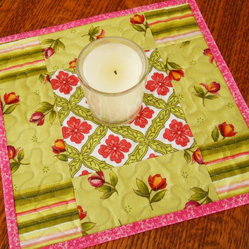 Pink and Green Mug Rugs - Quilted Mug Rugs - Mug Rug Set of 2 - Quilted Coasters - Quilted Placemats - Candle Mats