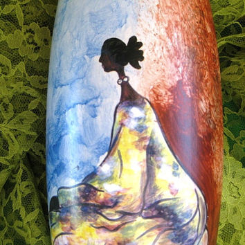 Art Pottery Vase Earth Mother Silhouette Great, Gifts under 50 dollars, Beautiful lady  art pottery