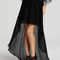 BCBGeneration Extreme High Low Hem Skirt in Black, Size Small
