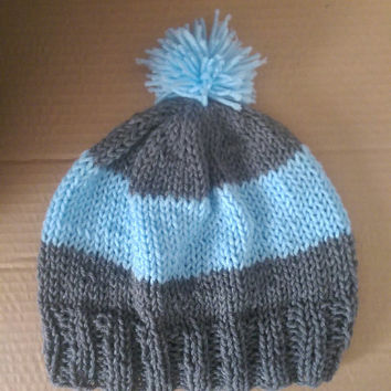 Grey and Blue Striped Warm Womens Knit Winter Hat