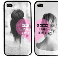 BFF Case / Blonde and Brunette iPhone 4 Case Best Friends iPhone 5 Case iPhone 4S Case iPhone 5S Case One For Your BFF personalized gift