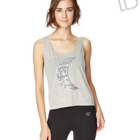 Live Love Dream Womens LLD Sequin Moon Swing Tank Top - Gray,