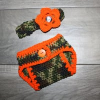 Adorable Camo Baby Diaper Cover and Headband Baby Shower gift Infant Camo Little Hunting Girl