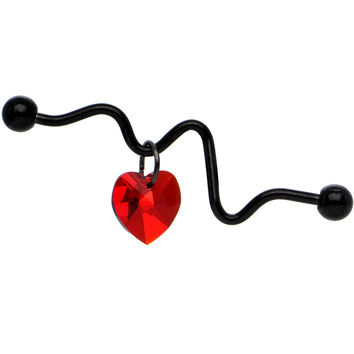 Heartbeat Industrial Barbell Created with Swarovski Crystals 38mm