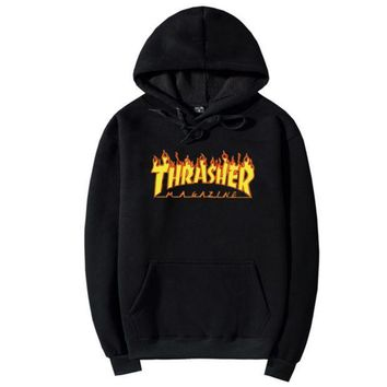 """""""Thrasher""""Men And Women With The Flame Hooded Couples Sweater"""