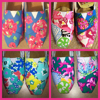 Lilly Pulitzer Painted Toms & Shoes by SweetHeartShoes on Etsy