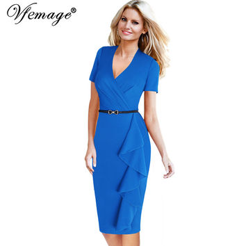 Vfemage Womens Elegant Belted Frill Ruffle Ruched Draped Sexy V-neck Vintage Tunic Casual Work Party Bodycon Pencil Dress 4821