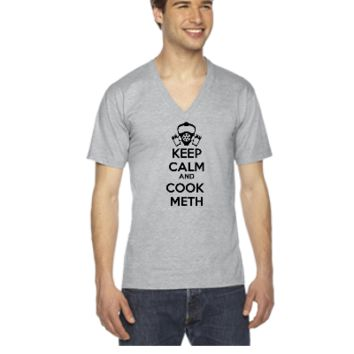 keep calm and cook meth - V-Neck T-shirt