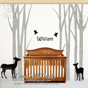 Nursery wall decals tree wall decals birds wall sticker baby name children vinyl wall decals animal - 7tree birds deers Z138 Cuma