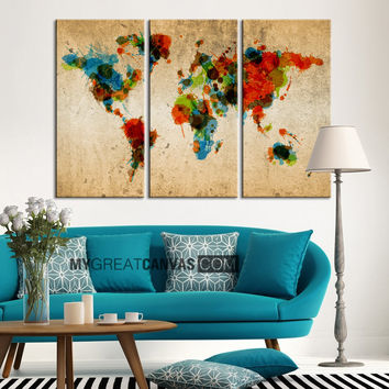 Colorful Ink Splashed WORLD MAP Art Canvas Print - 3 Piece Atlas Canvas Art Print - Vintage World Map
