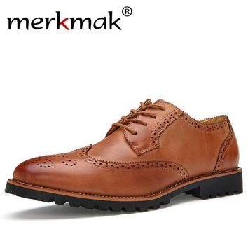 New Arrival Plus Size Vintage Leather Men's Shoes Business Formal Brogue Pointed Toe C