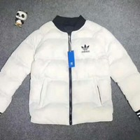 One-nice™ Adidas Women Men Fashion Zip Cardigan Long Sleeve Thickened Cotton-padded Clothes Jacket Coat White I-A001-MYYD