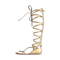 Chanel Gold Lace Up Gladiator Sandals
