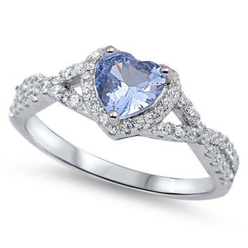 Sterling Silver CZ Simulated Aquamarine and Simulated Diamond Heart Halo Ring 8MM