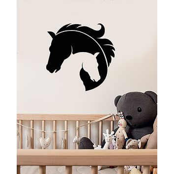 Vinyl Wall Decal Horse Heads Mother And Baby Room Decor Stickers (3884ig)