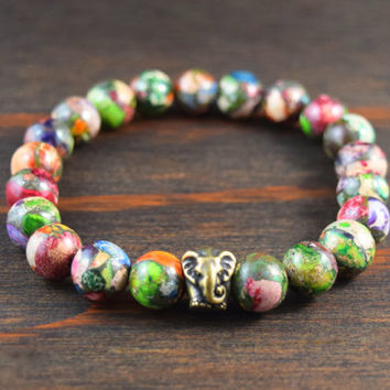Men's Beaded Bracelet. Mardi Gras Jasper Bracelet. Elephant Bracelet. Men's Yoga Bracelet. Men's Fashion Bracelet. Lotus and Lava Bracelet.