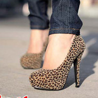 Sexy Womens Super High Heels Wild Leopard Platform Classic Pumps Shoes
