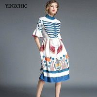 Star Runway Midi Dresses For Woman Half Flare Sleeve Female A-Line Party Fashion Dress Vintage Printed Woman Casual Summer Dress