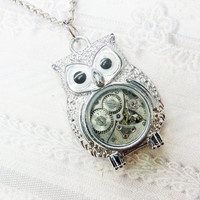 Silver Owl Necklace  STEAMPUNK OWL  Jewelry by by birdzNbeez