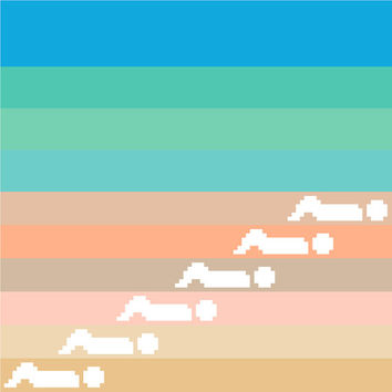 A day at the beach. Modern cross stitch pattern in beautiful sandy beiges and blue greens. Minimalist design.