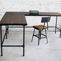 L shape desk. Reclaimed wood. Made to order in your requested size.