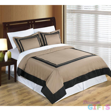 Taupe/ Black Patchwork Hotel King/Calking 3pc Duvet  Cover 100% Egyptian Cotton 300TC